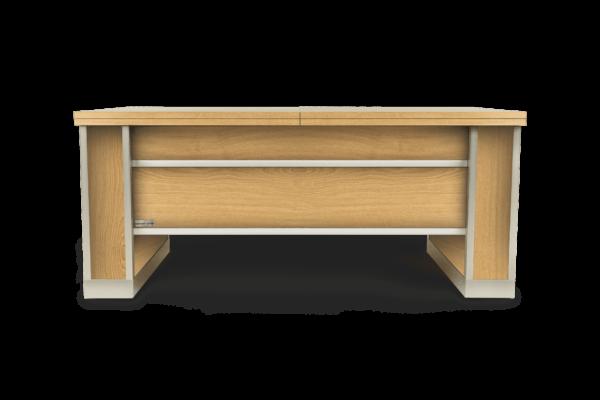 Mesa extensible y elevable madera roble entablillado