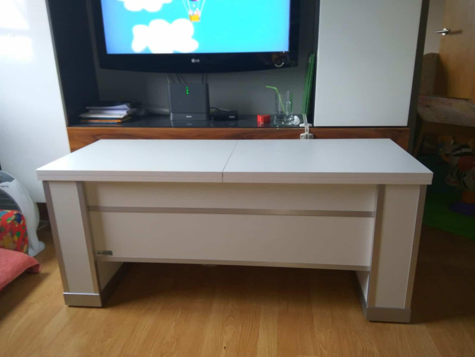 Mesa extensible y elevable blanca